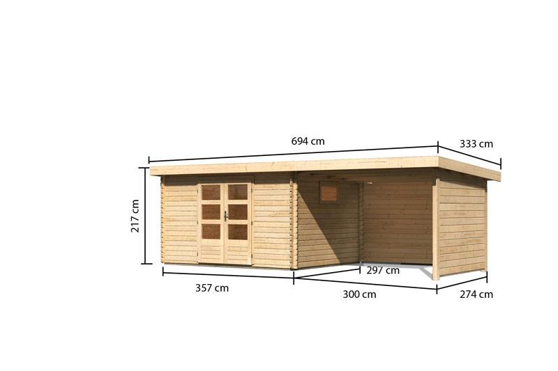 Karibu Gartenhaus  Trittau 4 im Set mit Anbaudach 3,3 m Rück- und Seitenwand naturbelassen