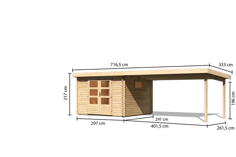 Karibu Gartenhaus  Trittau 3 im Set mit Anbaudach 4,4 m Rück- und Seitenwand naturbelassen