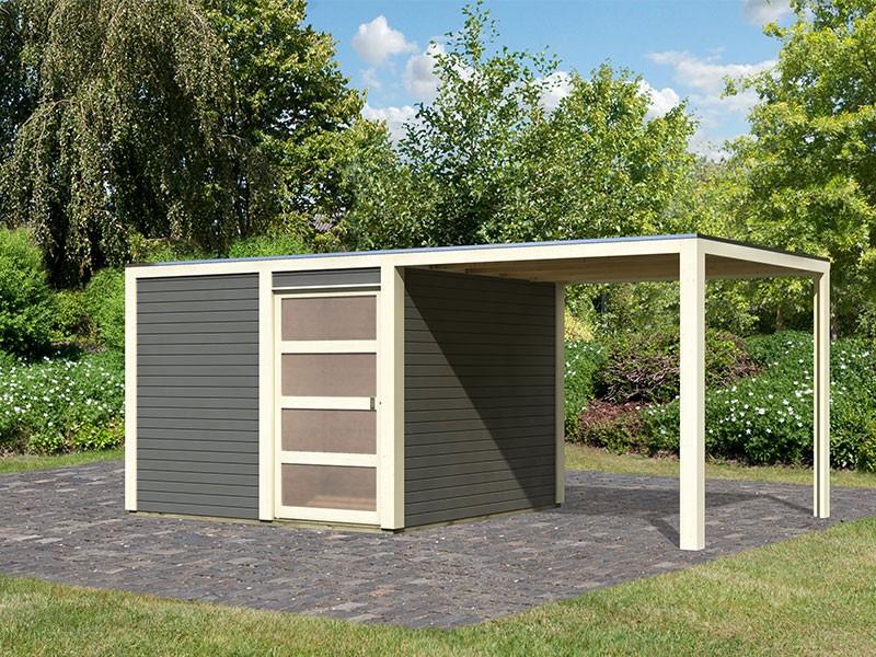 Karibu Holz-Gartenhaus Qubic 2 mit Anbaudach 2,7m - 19 mm Steck-/Schraubsystem - terragrau - inkl. Alu-Abschlussleiste