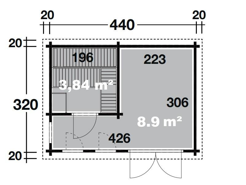 Wolff Finnhaus 2-Raum Saunahaus de Luxe Eurika 70 isoliververglast - naturbelassen