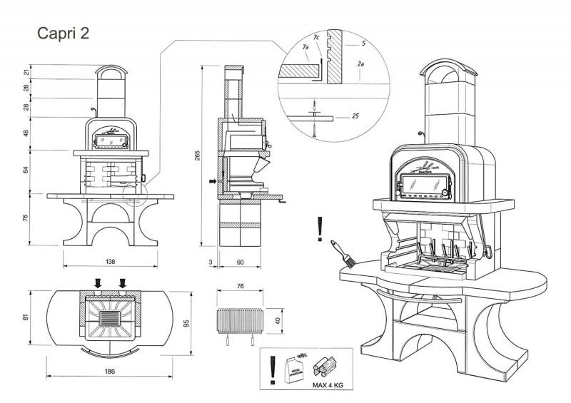 Palazzetti Grillkamin Grado mit Pizzaofen Backofen inkl. Montagematerial