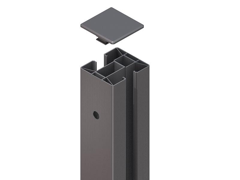 TraumGarten Zaunpfosten System Klemmpfosten Set anthrazit - 8 x 8 x 233 cm