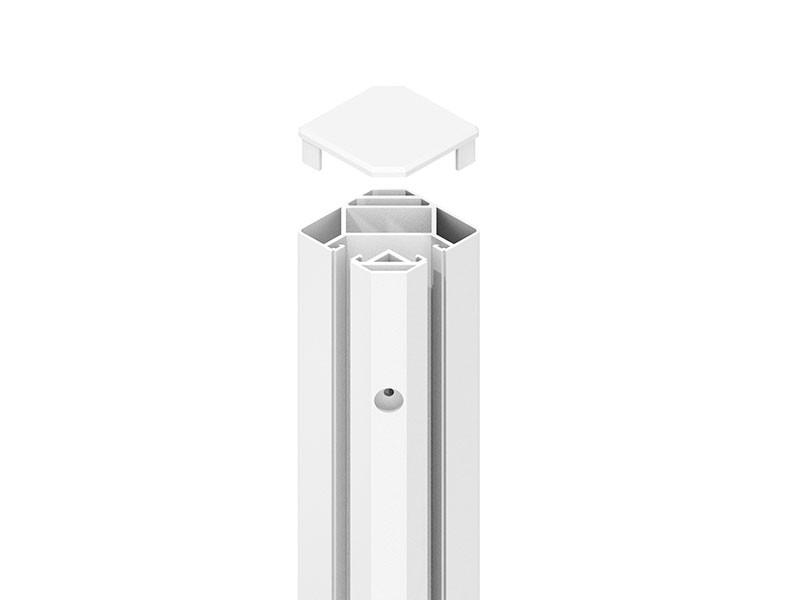 TraumGarten SYSTEM Eck-Klemmpfosten Weiß - 192 cm