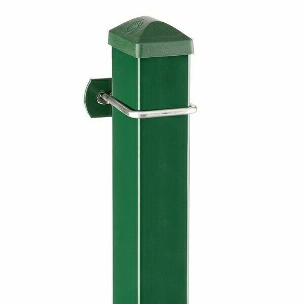 Zaunpfosten Doppelstabgitterzaun Typ U  RAL 6005 moosgrün - Länge: 2200 mm