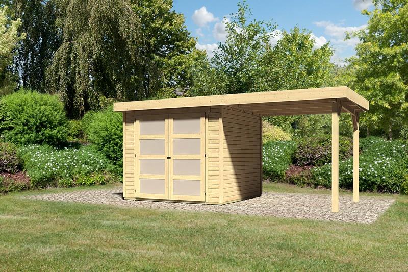 Karibu Holz-Gartenhaus Mühlendorf 3 mit Anbaudach 2,40 m - 19 mm Schraub-/Stecksystem - naturbelassen