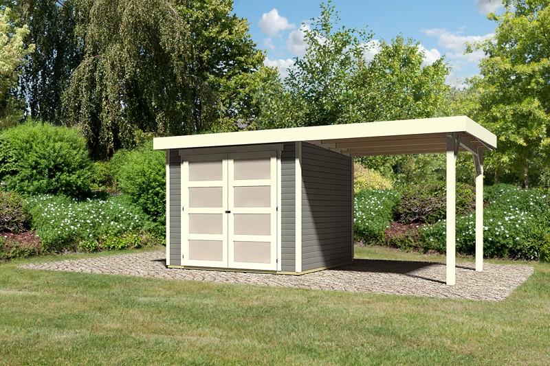 Karibu Holz-Gartenhaus Mühlendorf 3 mit Anbaudach 2,40 m - 19 mm Schraub-/Stecksystem - terragrau