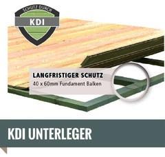Woodfeeling Holz-Gartenhaus Askola 6 mit Anbaudach 2,4m - 19 mm Schraub-/Stecksystem - terragrau