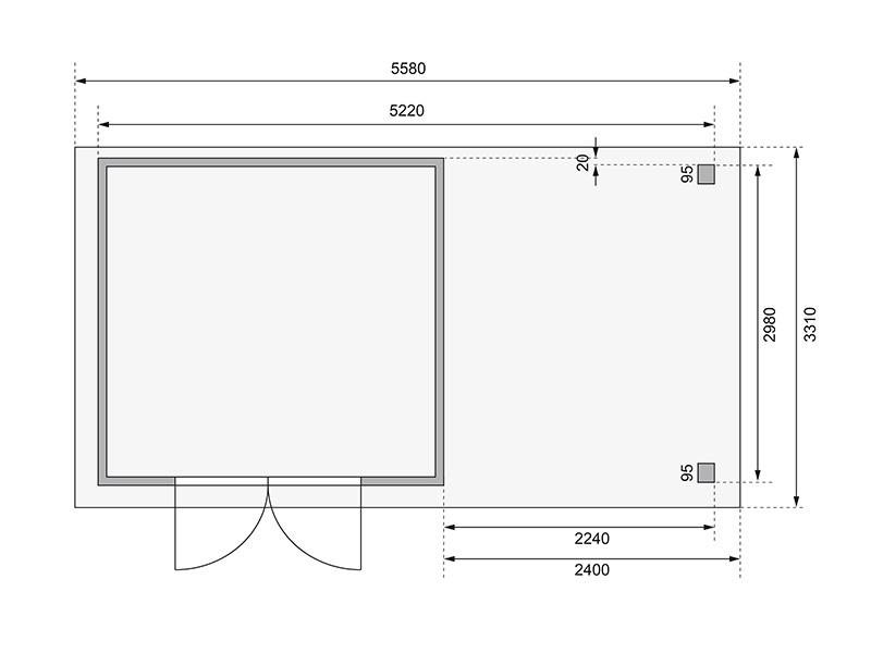 Woodfeeling Holz-Gartenhaus Askola 6 mit Anbaudach 2,4m + Rückwand - 19 mm Schraub-/Stecksystem - terragrau