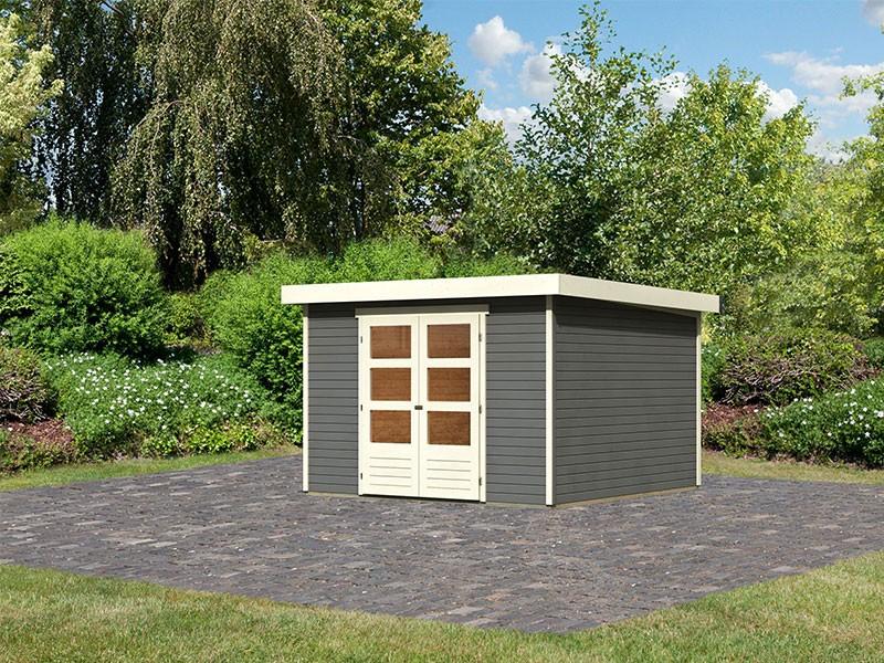 Woodfeeling Holz-Gartenhaus Askola 6 mit Anbaudach 2,8m - 19 mm Schraub-/Stecksystem - terragrau