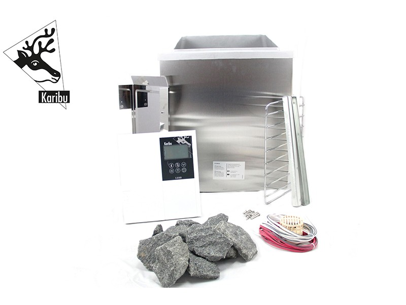 Karibu Bio-Kombiofen 9 kW inkl. Steuergerät Classic Bio + 18kg Diabas-Steinen