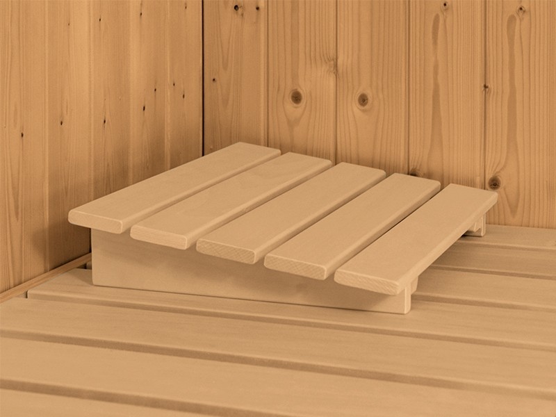Karibu 40mm Comfort Massivholzsauna Sonara - Fronteinstieg - Ganzglastür klar - mit Dachkranz