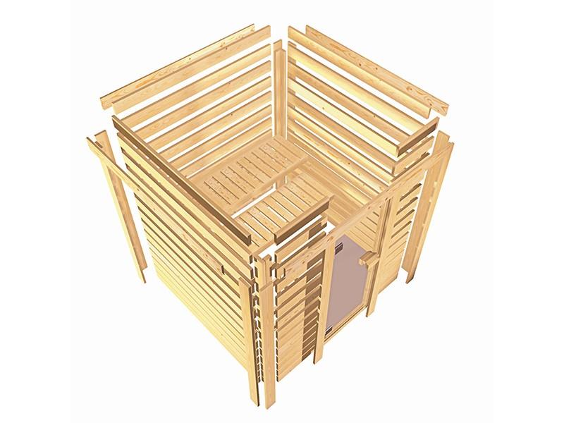 Karibu 40mm Comfort Massivholzsauna Sahib 1 - Eckeinstieg - Ganzglastür bronziert - ohne Dachkranz