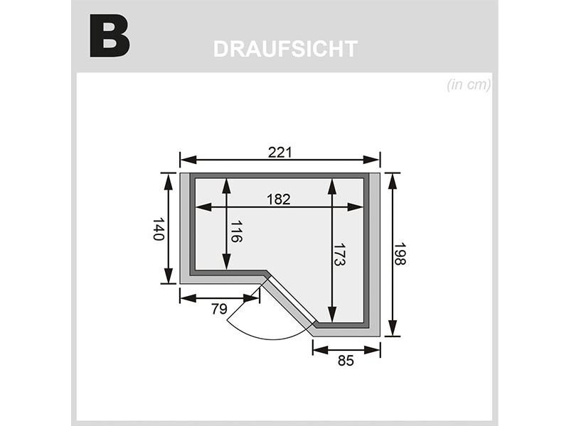 Karibu 40mm Comfort Massivholzsauna Sahib 1 - Eckeinstieg - Ganzglastür graphit - mit Dachkranz