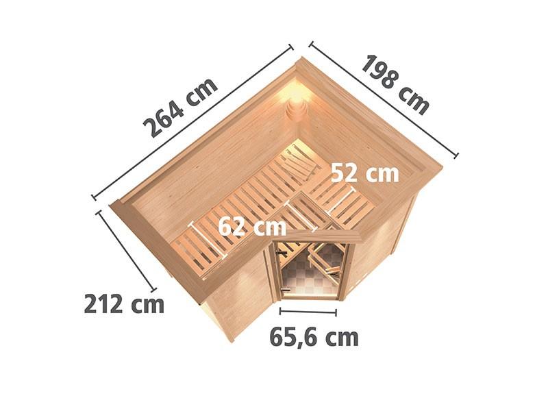 Karibu 40mm Comfort Massivholzsauna Sahib 2 - Eckeinstieg - Ganzglastür bronziert - mit Dachkranz