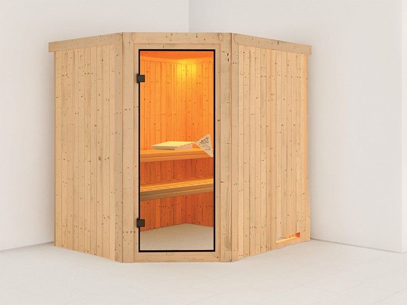 Gartenfreunde Special: Karibu 68mm Systembausauna Siirin - Ganzglastür bronziert - 9kW Saunaofen inkl. Steuerung + 18kg Diabassteine