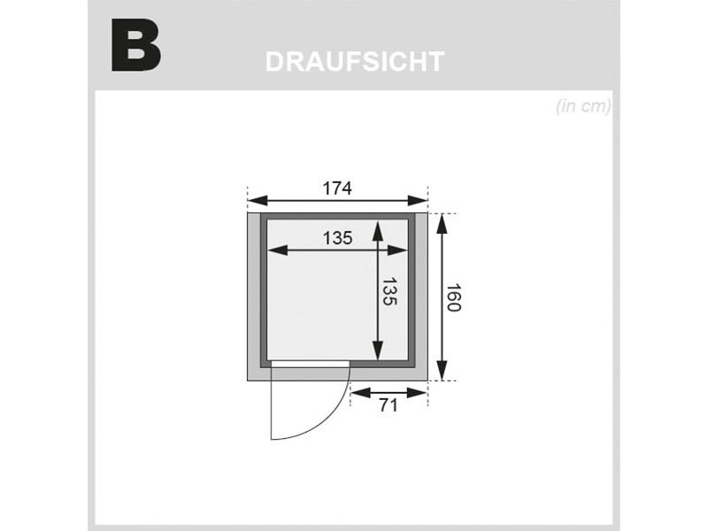 Woodfeeling 38 mm Massivholzsauna Svenja - Fronteinstieg - Energiespartür - mit Dachkranz - 4,5kW Saunaofen mit integr. Steuerung