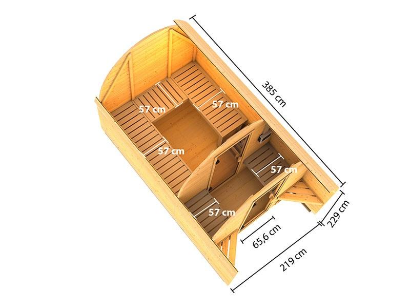 Karibu Fasshaus 3 - 38 mm Saunahaus - Tonnendach - naturbelassen