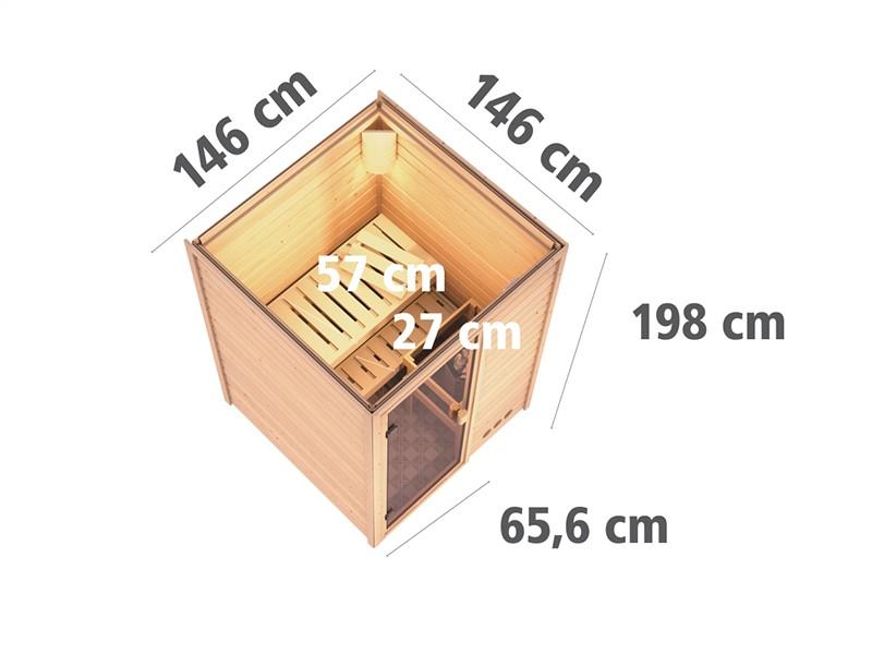 Woodfeeling 38 mm Massivholzsauna Svenja - Fronteinstieg - Ganzglastür bronziert - ohne Dachkranz - 4,5kW Saunaofen mit externe Steuerung Easy