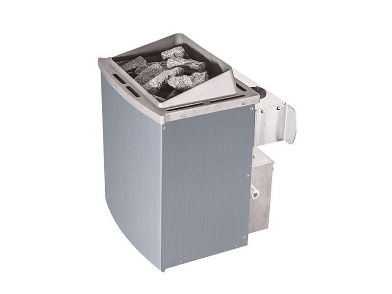 Karibu 68mm Systembausauna Norin - Fronteinstieg - Ganzglastür klar - ohne Dachkranz - 4,5kW Saunaofen mit integr. Steuerung