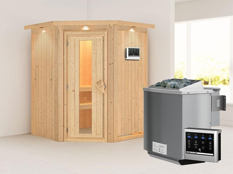 Karibu 68mm Systembausauna Larin - Eckeinstieg - Energiespartür - mit Dachkranz - 4,5kW Bio-Kombiofen mit externer Steuerung Easy bio