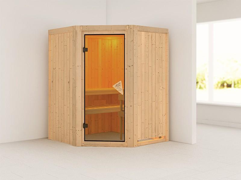 Karibu 68mm Systembausauna Larin - Eckeinstieg - Ganzglastür bronziert - ohne Dachkranz - 4,5kW Saunaofen mit integr. Steuerung