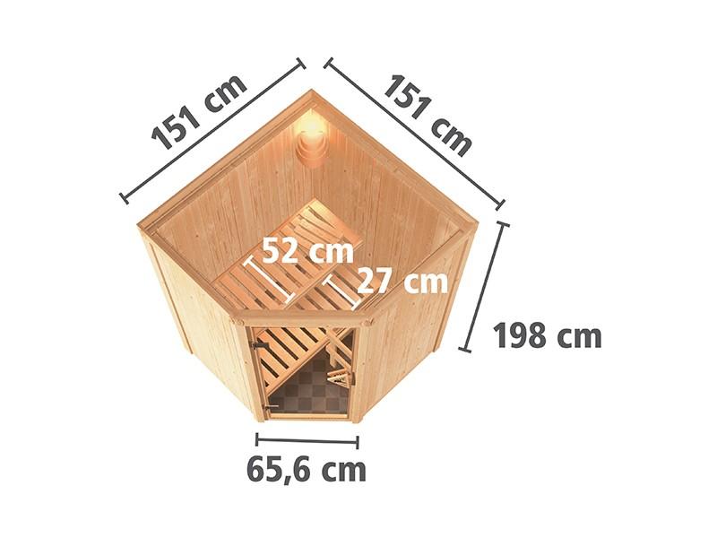 Karibu 68mm Systembausauna Larin - Eckeinstieg - Ganzglastür bronziert - ohne Dachkranz - 4,5kW Saunaofen mit externer Steuerung Easy