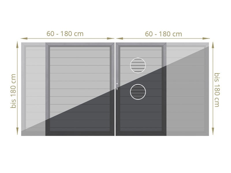 TraumGarten System/Design Metall Doppeltor Maßanfertigung - Grau/Anthrazit - 60cm bis 180cm