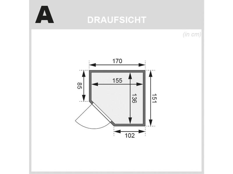 Karibu 68mm Systembausauna Taurin - Eckeinstieg - Ganzglastür graphit - ohne Dachkranz - 4,5kW Saunaofen mit integr. Steuerung