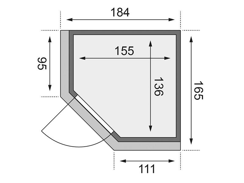 Karibu 68mm Systembausauna Taurin - Eckeinstieg - Ganzglastür graphit - mit Dachkranz - 4,5kW Saunaofen mit integr. Steuerung