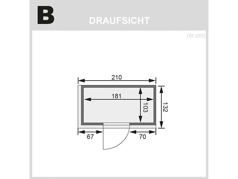 Karibu 68mm Systembausauna Variado - Fronteinstieg - Ganzglastür bronziert - mit Dachkranz - 4,5kW Saunaofen mit integr. Steuerung