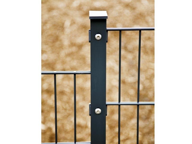 Zaunpfosten Doppelstabgitterzaun Typ A  Silbergrau verzinkt - Länge: 2800 mm