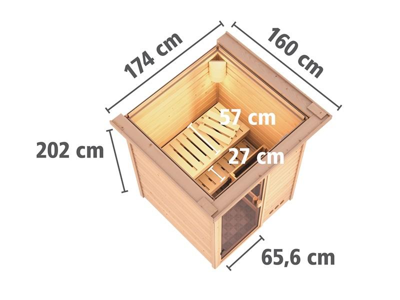 Woodfeeling 38 mm Massivholzsauna Svenja - Fronteinstieg - Ganzglastür graphit - mit Dachkranz - 4,5kW Saunaofen mit externer Steuerung Easy