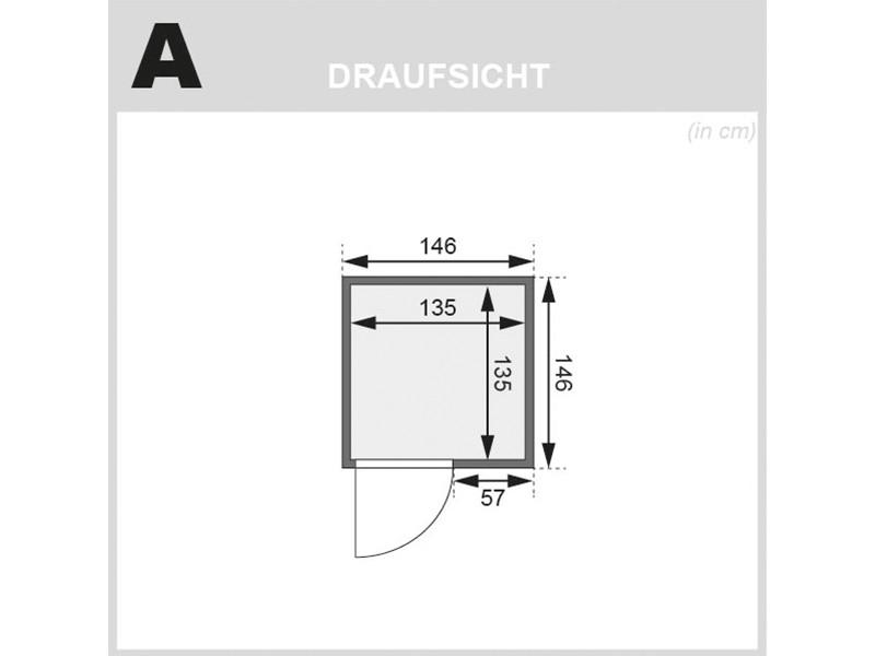 Woodfeeling 38 mm Massivholzsauna Svenja - Fronteinstieg - Ganzglastür klar - ohne Dachkranz - 4,5kW Saunaofen mit externer Steuerung Easy