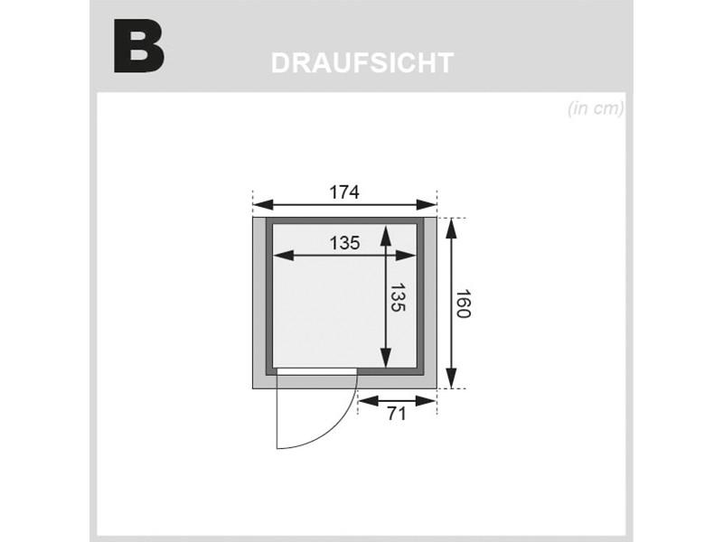 Woodfeeling 38 mm Massivholzsauna Svenja - Fronteinstieg - Ganzglastür klar - mit Dachkranz - 4,5kW Saunaofen mit externer Steuerung Easy