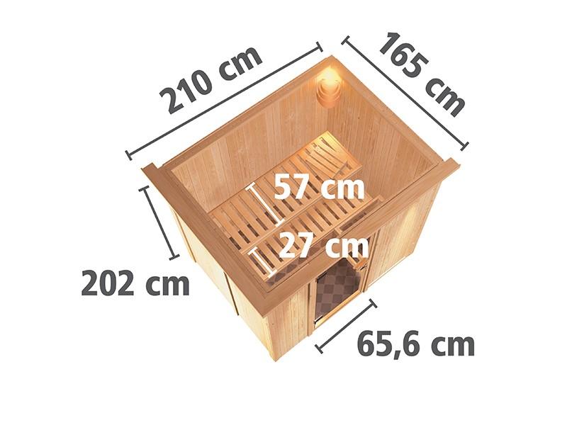 Karibu 68mm Systembausauna Bodin - Fronteinstieg - Energiespartür - mit Dachkranz - 4,5kW Saunaofen mit externer Steuerung Easy