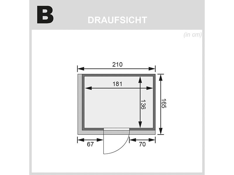 Karibu 68mm Systembausauna Bodin - Fronteinstieg - Ganzglastür bronziert - mit Dachkranz - 4,5kW Saunaofen mit integr. Steuerung