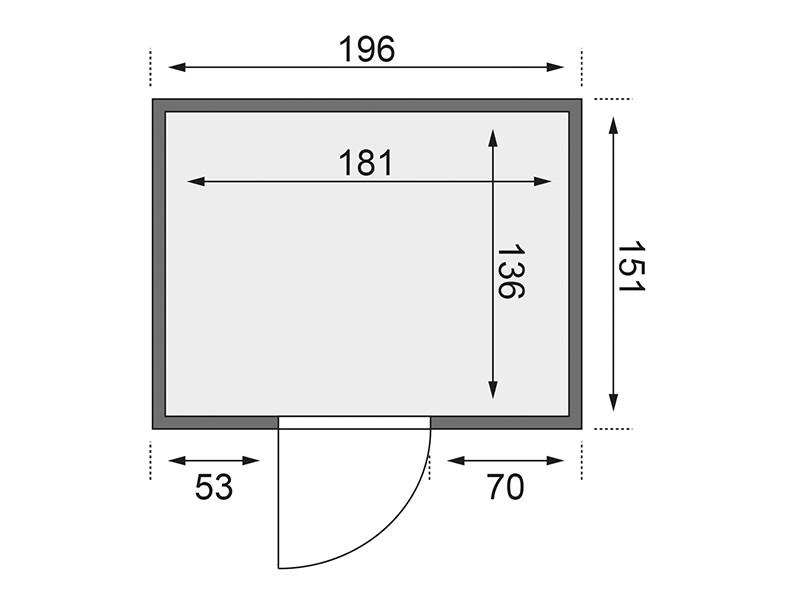 Karibu 68mm Systembausauna Bodin - Fronteinstieg - Ganzglastür klar - ohne Dachkranz - 4,5kW Saunaofen mit integr. Steuerung