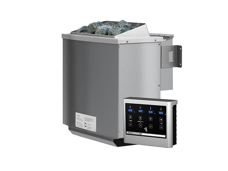Karibu 68mm Systembausauna Carin - Eckeinstieg - Energiespartür - ohne Dachkranz - 4,5kW Bio-Kombiofen mit externer Steuerung Easy bio