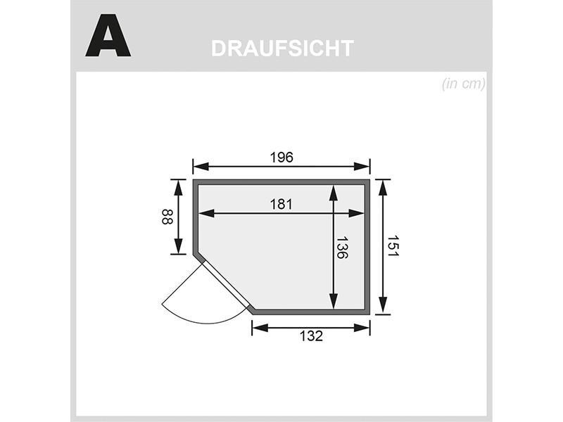 Karibu 68mm Systembausauna Carin - Eckeinstieg - Ganzglastür bronziert - ohne Dachkranz - 4,5kW Saunaofen mit externer Steuerung Easy