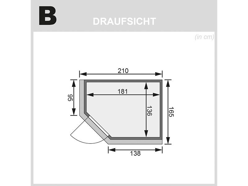 Karibu 68mm Systembausauna Carin - Eckeinstieg - Ganzglastür klar - mit Dachkranz - 4,5kW Bio-Kombiofen mit externer Steuerung Easy bio