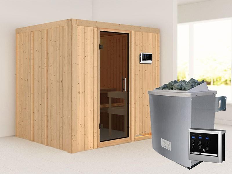 Karibu 68mm Systembausauna Sodin - Fronteinstieg - Ganzglastür graphit - ohne Dachkranz - 4,5kW Saunaofen mit externer Steuerung Easy