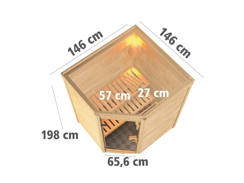 Woodfeeling 38 mm Massivholzsauna Franka - Eckeinstieg - Energiespartür - ohne Dachkranz - 4,5kW Saunaofen mit integr. Steuerung