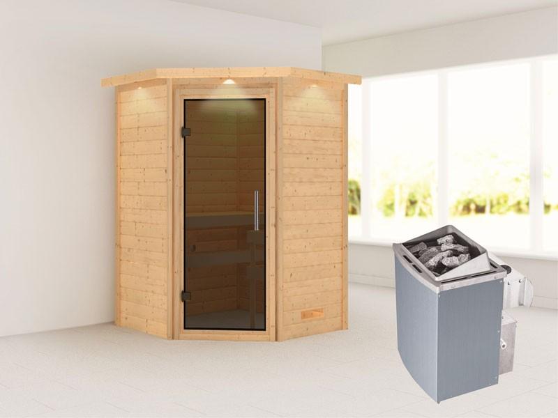 Woodfeeling 38 mm Massivholzsauna Franka - Eckeinstieg - Ganzglastür graphit - mit Dachkranz - 4,5kW Saunaofen mit integr. Steuerung