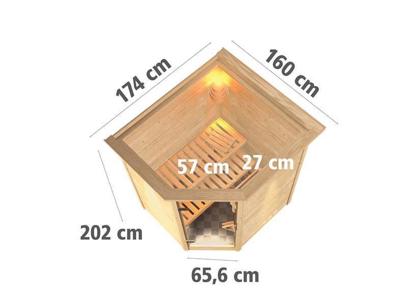 Woodfeeling 38 mm Massivholzsauna Franka - Eckeinstieg - Ganzglastür graphit - mit Dachkranz - 4,5kW Saunaofen mit externer Steuerung Easy bio