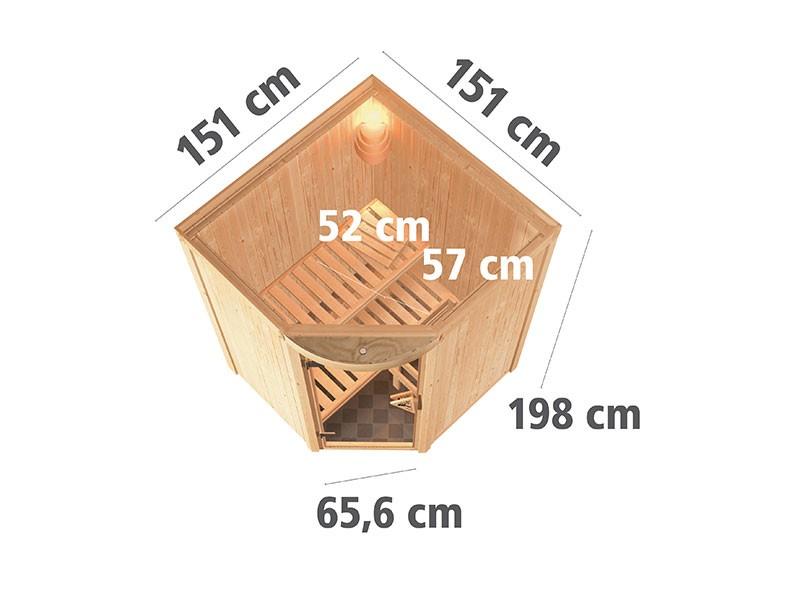 Karibu 68mm Systembausauna Asmada - Eckeinstieg - Rundbogen inkl. LED-Spot - 4,5kW Saunaofen mit integr. Steuerung