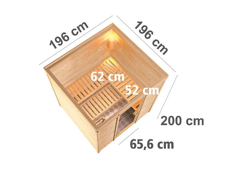 Karibu 40mm Comfort Massivholzsauna Mojave - Fronteinstieg - Ganzglastür bronziert - ohne Dachkranz - 9kW Saunaofen mit integr. Steuerung