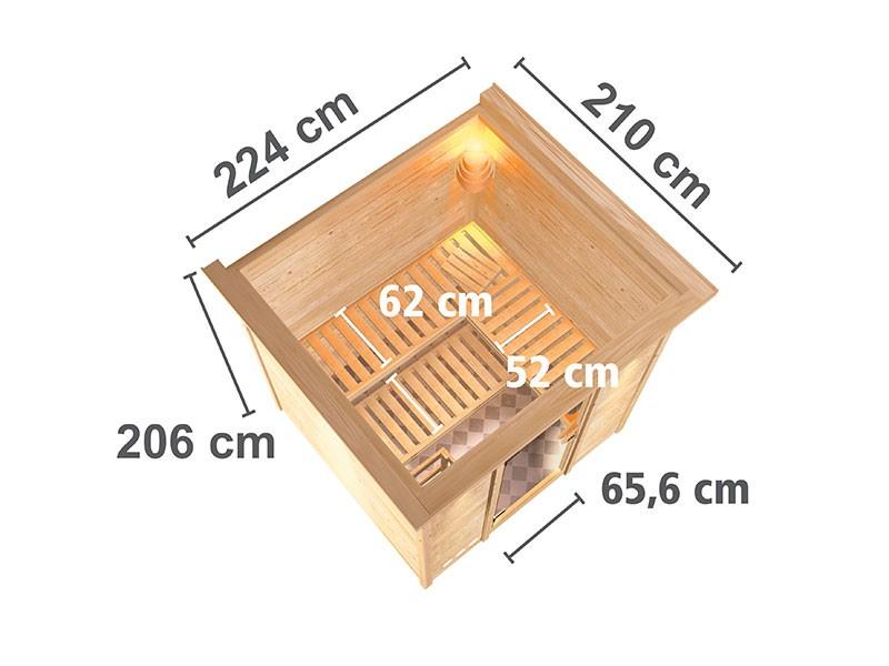 Karibu 40mm Comfort Massivholzsauna Mojave - Fronteinstieg - Ganzglastür klar - mit Dachkranz - 9kW Saunaofen mit integr. Steuerung