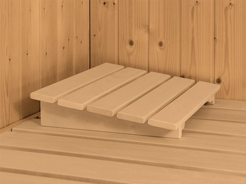 Karibu 40mm Comfort Massivholzsauna Sinai 3 - Eckeinstieg - Ganzglastür bronziert - 2 große Fenster - mit Dachkranz - 9kW Saunaofen mit externer Steuerung Easy