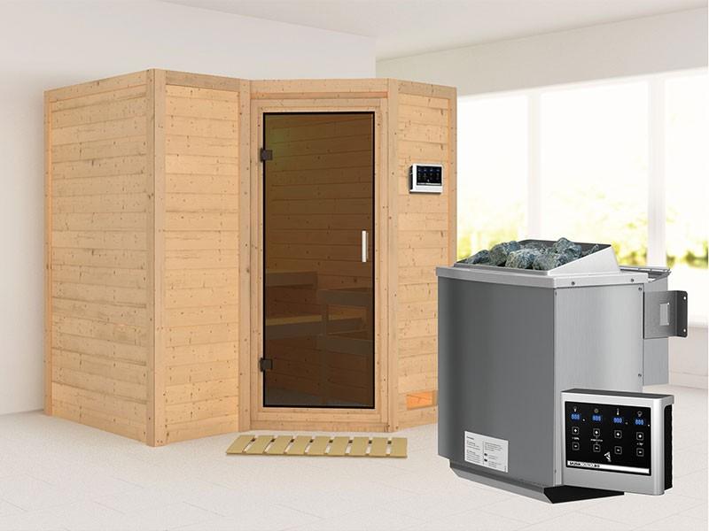 Karibu 40mm Comfort Massivholzsauna Sahib 1 - Eckeinstieg - Ganzglastür graphit - ohne Dachkranz - 9kW Bio-Kombiofen mit externer Steuerung Easy bio