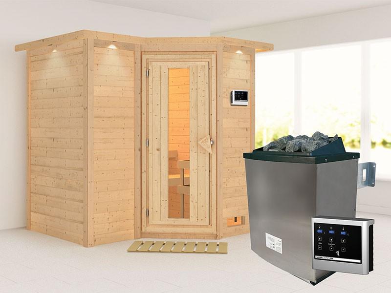 Karibu 40mm Comfort Massivholzsauna Sahib 1 - Eckeinstieg - Energiespartür - mit Dachkranz - 9kW Saunaofen mit externer Steuerung Easy